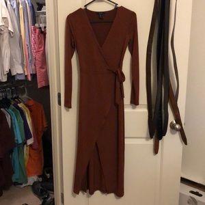 Rust colored wrap dress